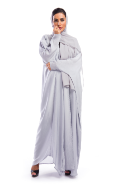 Grey Silk Abaya / Outerwear