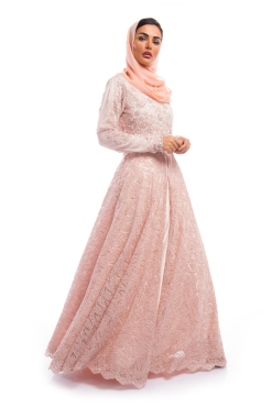 Peach Dress with a beaded outerskirt
