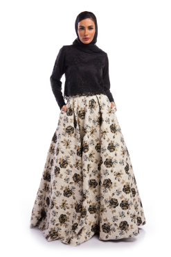 Black Lace top and Printed Brocade Skirt Ensemble