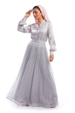 Grey Top and Skirt Dress Ensemble