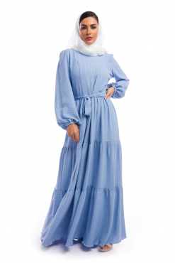 Plain Blue Blended Cotton Dress