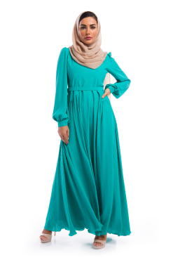 Plain Emerald Green Georgette Dress / Gown